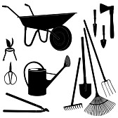 20981075-gardening-tools silhouette-set